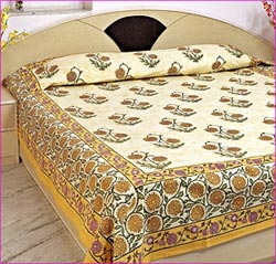 Block Printed Bed Sheet ...