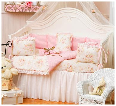 Give Your Princess a Chenille Four Piece Crib Bedding Set